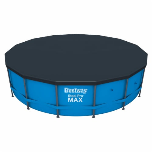 Flowclear 15 Foot Round Steel Pro MAXTM Above Ground Swimming Pool Cover, Black Perspective: front