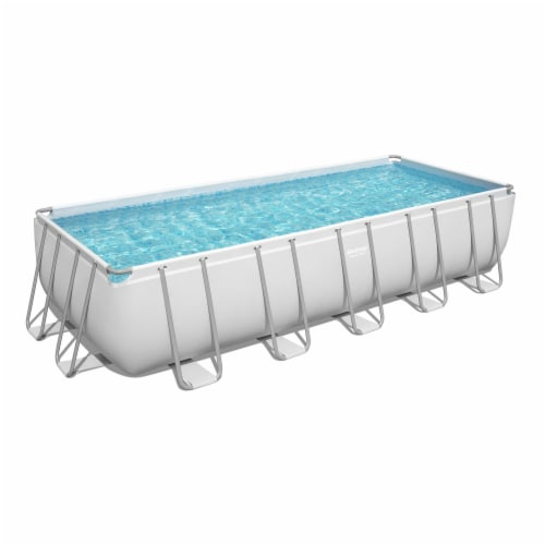 Bestway 21 Ft x 9 Ft x 52 In Power Steel Frame Above Ground Swimming Pool Set Perspective: front