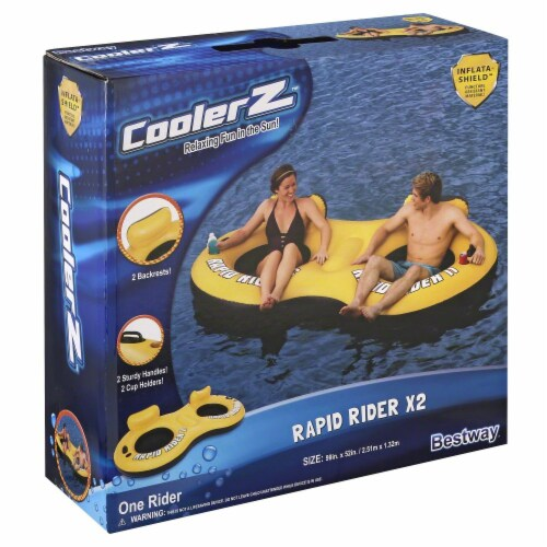 Bestway® Rapid Rider X2 Inflatable 2-Person Tube - Yellow/Black Perspective: front