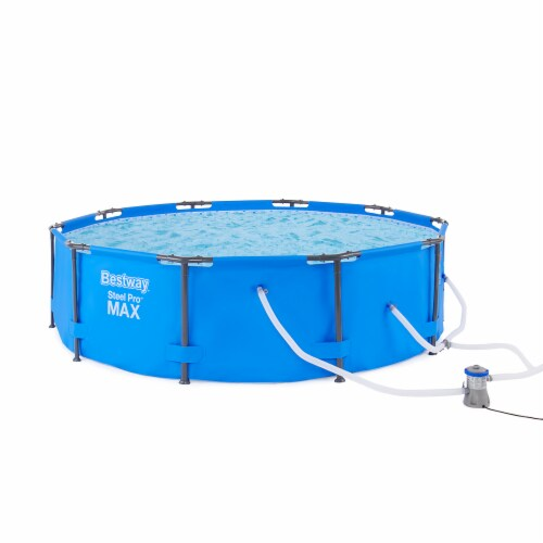 """Bestway 10' x 30"""" Steel Pro Frame Max Round Above Ground Swimming Pool with Pump Perspective: front"""