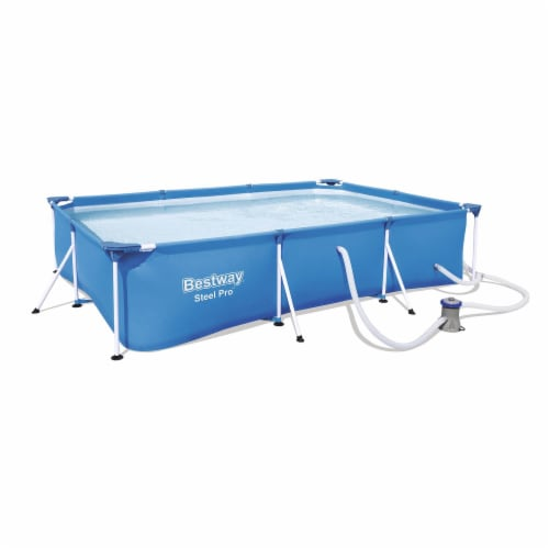 Bestway Steel Pro 9.8ft x 6.6ft x 26in Above Ground Swimming Pool Set with Pump Perspective: front