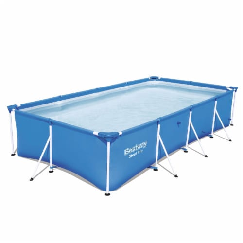"""Bestway Steel Pro 13' x 7' x 32"""" Rectangular Frame Above Ground Swimming Pool Perspective: front"""