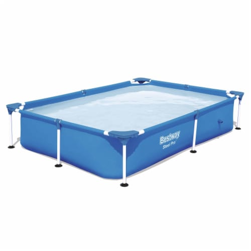 Bestway Steel Pro 7.25 x 4.9 x 1.4 Ft Rectangular Above Ground Kids Swimming Pool Perspective: front