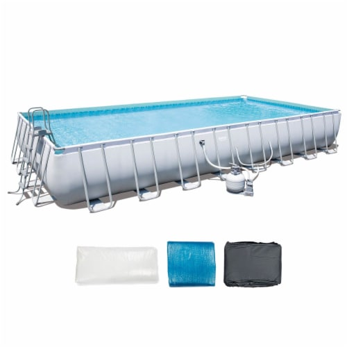Bestway 56625E Power Steel 31ft x 16ft x 52in Rectangular Above Ground Pool Set Perspective: front