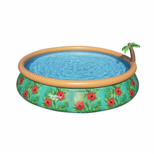 Bestway 57415E 15Ft x 33In Fast Set Paradise Palms Inflatable Swimming Pool Set Perspective: front