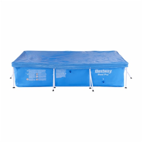 Bestway 58106 Flowclear Pro Rectangular Above Ground Swimming Pool Cover, Blue Perspective: front