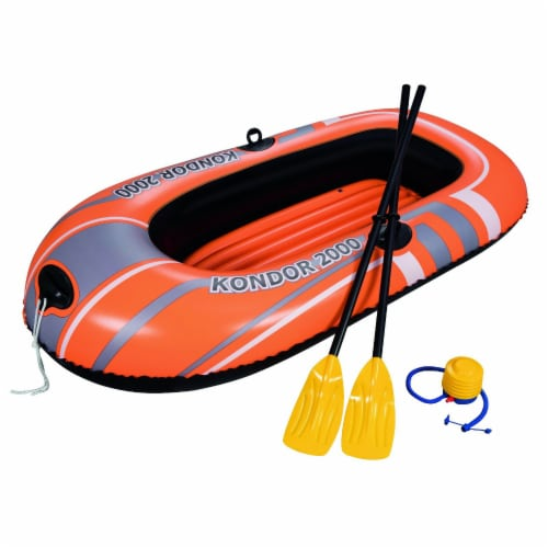 Bestway Kondor 2000 Inflatable Raft Boat Set with Oars and Pump Perspective: front