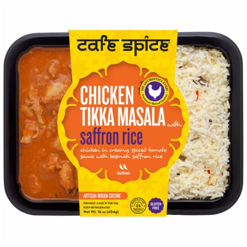 Cafe Spice® Gluten Free Chicken Tikka Masala with Basmati Saffron Rice Meal Perspective: front