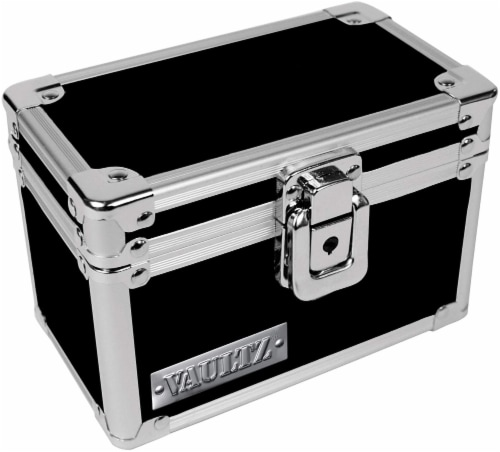 Vaultz Box for 3 x 5 Inch Index Cards- Black/Silver Perspective: front