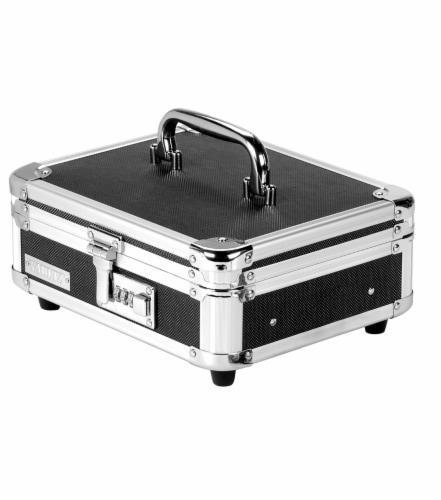 Vaultz Locking Cash Box - Black/Silver Perspective: front