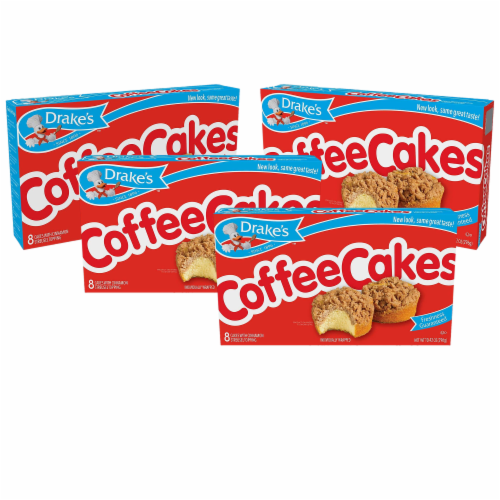 Drake's Coffee Cakes, 4 boxes, 32 Individually Wrapped Breakfast Pastries, Cinnamon Perspective: front