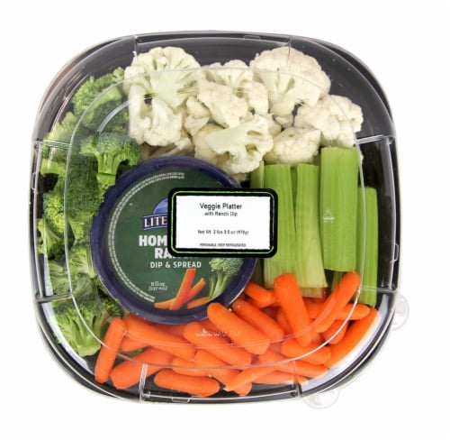 Fresh Kitchen Veggie Platter with Ranch Dip Perspective: front