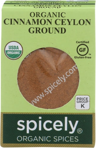 Spicely Organics Ground Cinnamon Ceylon Perspective: front