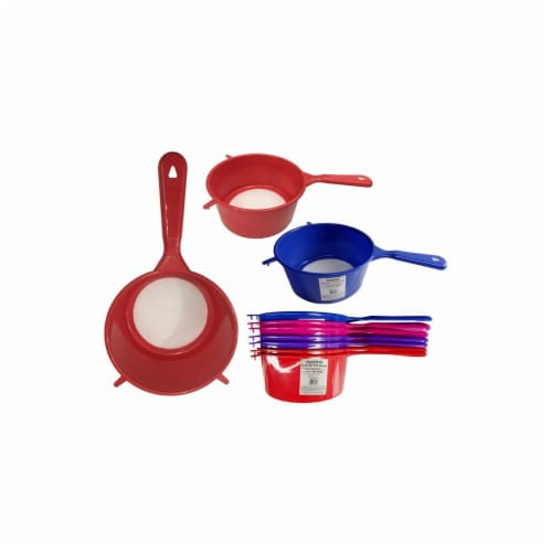 FamilyMaid 60041 Red & Blue Colander with Handle, 8.5 dia. x 4 x 15 in. - Pack of 72 Perspective: front