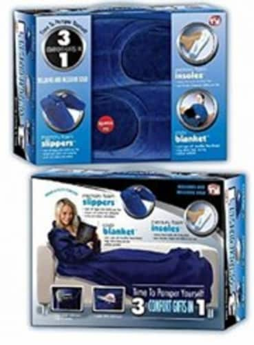 3 Comfort Gifts in 1 Medium (Slippers, Blanket with Sleeves, Insoles) Perspective: front