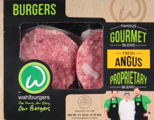 wahlburgers Famous Gourmet Blend Ground Beef Patties Perspective: front