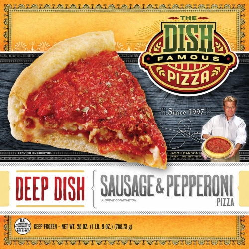 The Dish Deep Dish Sausage & Pepperoni Pizza Perspective: front