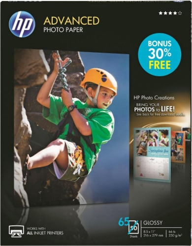 HP Advanced Bonus Pack Glossy Photo Paper - 65 Pack - White Perspective: front