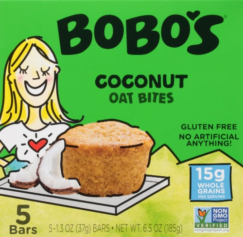 Bobo's Coconut Oat Bites Bars Perspective: front
