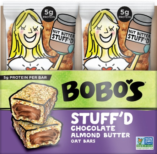 Bobo's Stuff'd Chocolate Almond Butter Oat Bars 12 Count Perspective: front