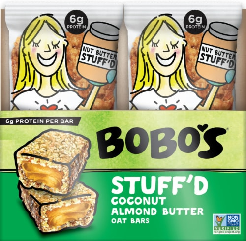 Bobo's Stuff'd Coconut Almond Butter Oat Bars 12 Count Perspective: front
