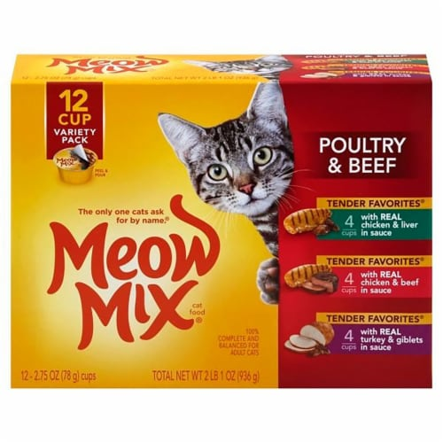 Meow Mix Tender Favorites Poultry & Beef Wet Cat Food Variety Pack 12 Count Perspective: front