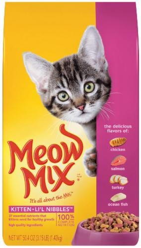 Meow Mix Kitten Lil Nibblers Chicken Salmon Turkey and Ocean Fish Dry Cat Food Perspective: front