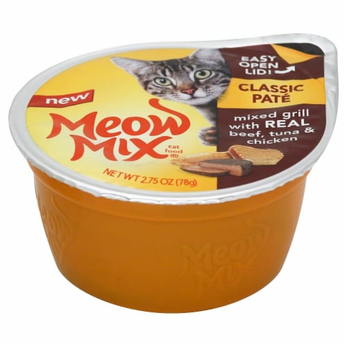 Meow Mix Classic Pate Mixed Grill with Real Beef Tuna & Chicken Wet Cat Food 12 Count Perspective: front