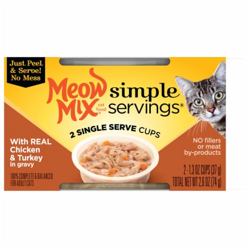 Meow Mix Simple Servings Chicken & Turkey in Gravy Wet Cat Food 2 Count Perspective: front