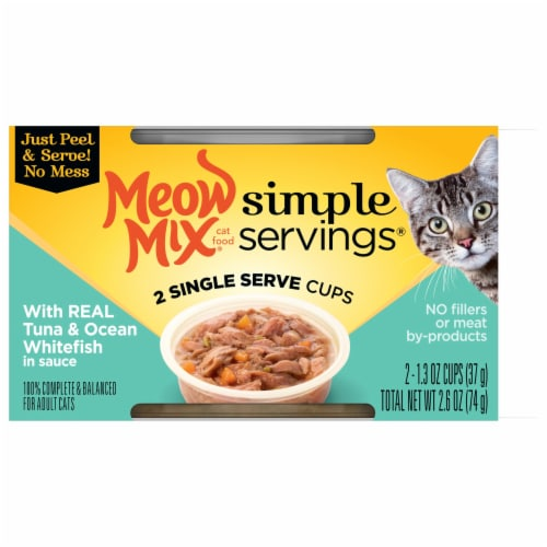 Meow Mix Simple Servings Tuna & Ocean Whitefish Wet Cat Food Perspective: front