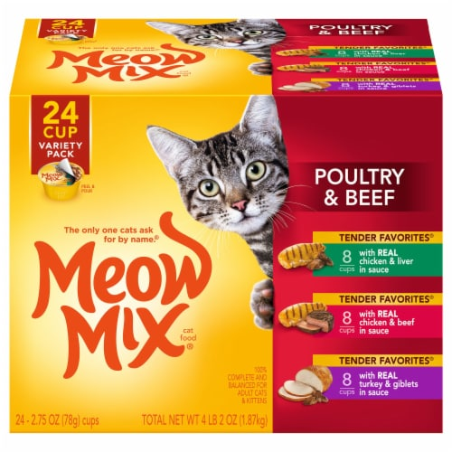 Meow Mix Tender Favorites Poultry & Beef Wet Cat Food Variety Pack 24 Count Perspective: front