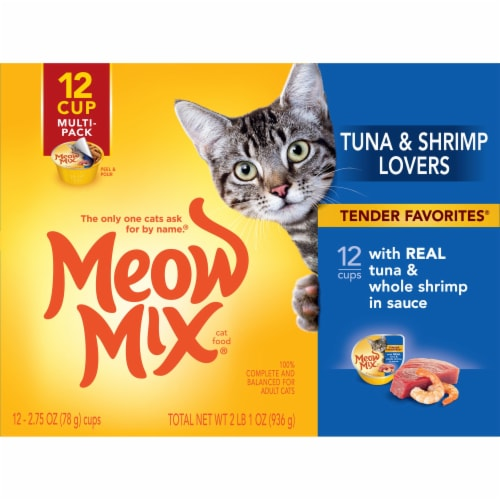 Meow Mix Tender Favorites Tuna & Whole Shrimp Wet Cat Food Variety Pack 12 Count Perspective: front