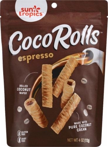 Sun Tropics Gluten & Dairy Free Espresso Coco Rolls Wafers Perspective: front
