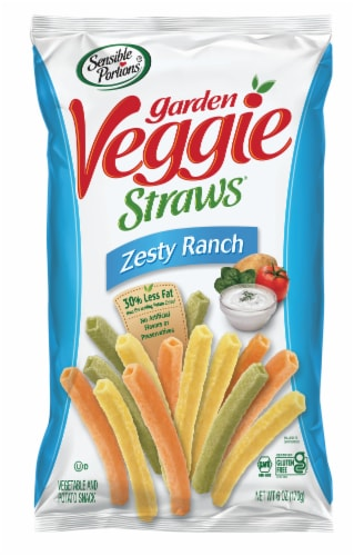 Sensible Portions Garden Veggie Straws Zesty Ranch Vegetable and Potato Snacks Perspective: front