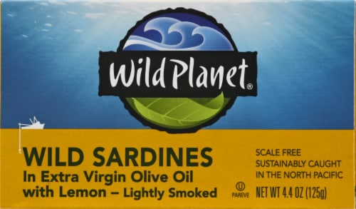 Wild Planet Wild Sardines in Extra Virgin Olive Oil with Lemon Perspective: front