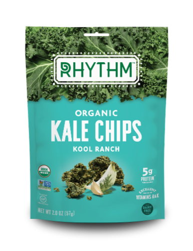 Rhythm Organic Kool Ranch Kale Chips Perspective: front