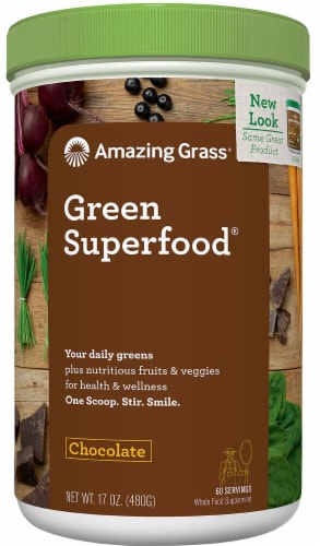 Amazing Grass  Green SuperFood® Drink Powder   Cacao Chocolate Infusion Perspective: front
