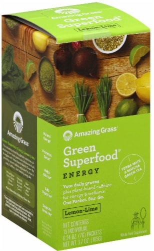 Amazing Grass Lemon-Lime Green Superfood Energy Powder Perspective: front