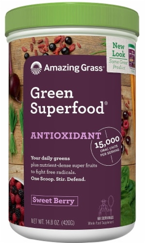 Amazing Grass  Green SuperFood® Antioxidant Drink Powder   Berry Perspective: front