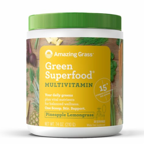 Amazing Grass  Green SuperFood® Multivitamin   Pineapple Lemongrass Perspective: front