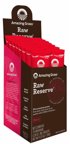 Amazing Grass Raw Reserve Berry Whole Food Supplement Packets 15 Count Perspective: front