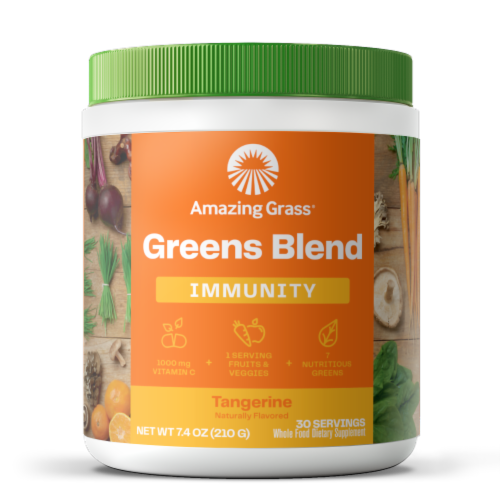 Amazing Grass Tangerine Green Superfood Immunity Dietary Supplement Perspective: front