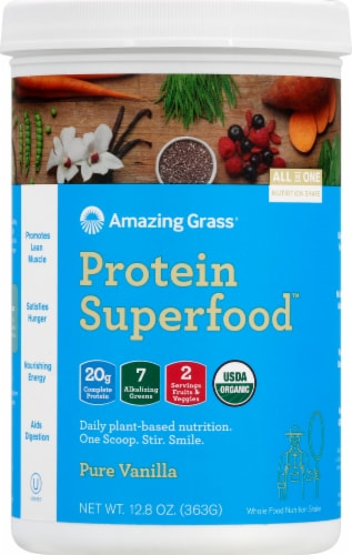 Amazing Grass Protein Supperfood Pure Vanilla Nutrition Shake Powder Perspective: front