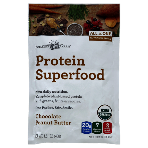 Amazing Grass Chocolate Peanut Butter Protein Superfood Perspective: front