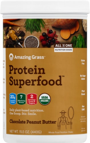 Amazing Grass Protein Superfood Chocolate Peanut Butter Nutrition Shake Powder Perspective: front