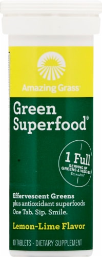 Amazing Grass Green Superfood Lemon Lime Effervescent Greens Tablets Perspective: front