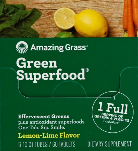 Amazing Grass Green Superfood Lemon-Lime Effervescent Greens Tablets Perspective: front