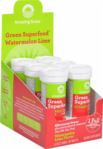 Amazing Grass Watermelon Lime Effervescent Hydration Dietary Supplement Perspective: front