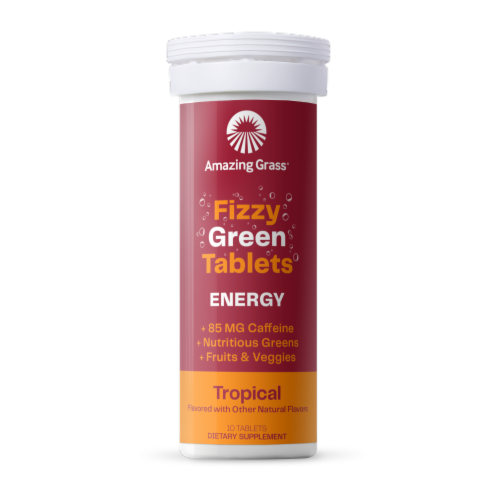 Amazing Grass Green Superfood Energy Tropical Effervescent Greens Tablets Perspective: front