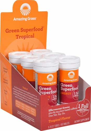 Amazing Grass Green Superfood Energy Tropical Effervescent Greens Perspective: front